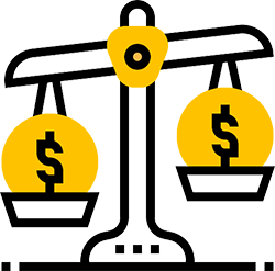 Icon of old style scale with dollar signs enclosed in yellow circles on either side