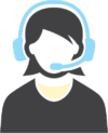 Icon of woman wearing a blue headset representing customer service