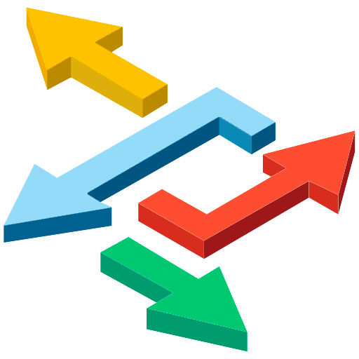Icon to represent flexibility our 3D arrows in primary colors pointing in four different directions