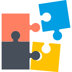 Icon to represent candidate/company matching: 4 puzzle pieces in different colors, fit together with two pieces pulling away