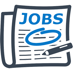 Icon of a newspaper with the word JOBS at top, with blue circle around text and a pen.