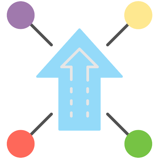 Icon to represent possibilities: blue arrow surrounded by 4 lines with colorful circles on the end of them in different directions