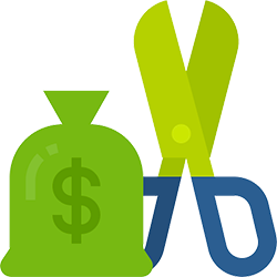 Icon to represent reduced costs: a green bag with a dollar sign on it next to a pair of scissors with blue handles and green blades