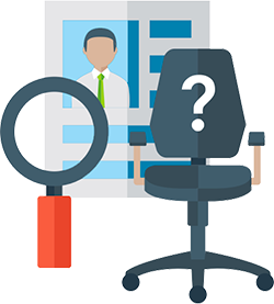 Icon representing candidate screening: empty desk chair with a magnifying glass over a piece of paper with a person on it