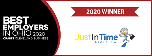 White text against a black background (that says Best Employers in Ohio 2020) on left side with JITS Staffing Agency logo and red banner that says 2020 Winner on the right
